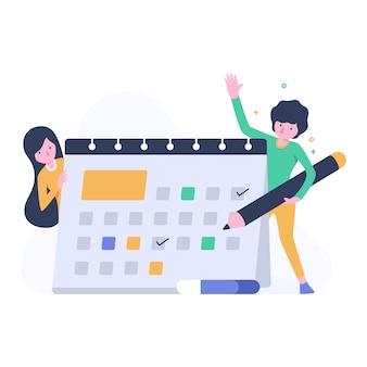 Mensenillustratie met kalender en programma