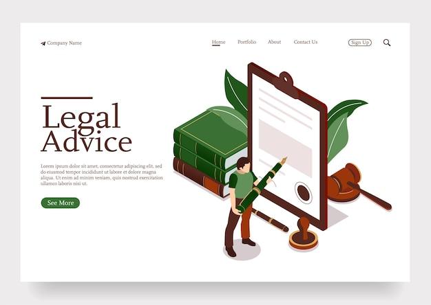 Mensenkarakter in advocatenkantoor die juridisch contract ondertekenen, volgen het advies isometrische concept