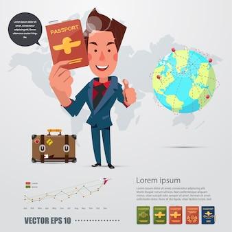 Mensenkarakter met zijn paspoort. infographic pictogram.