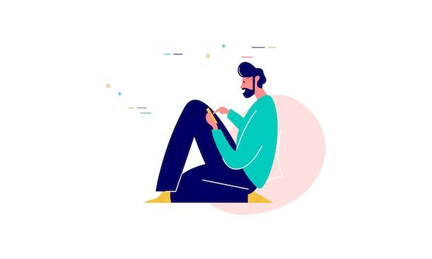 Mensenkarakter omringd met het conceptenillustratie van het gadgets vlakke ontwerp
