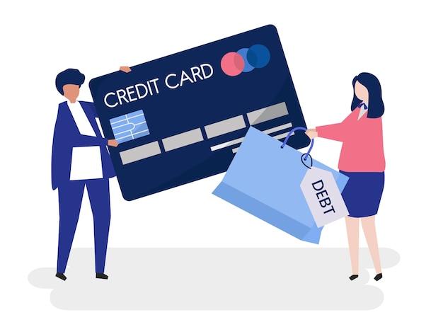 Mensenkarakters en het conceptenillustratie van de creditcardschuld