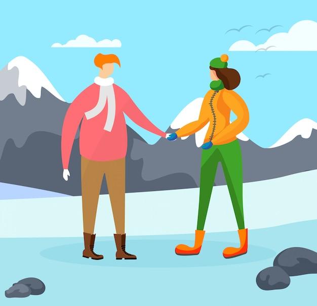 Mensenkarakters op wintertijdachtergrond.