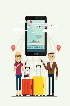 Mensenman en vrouw met koffersreis en vliegtuigweg aan doel op mobiel, vectorillustratie