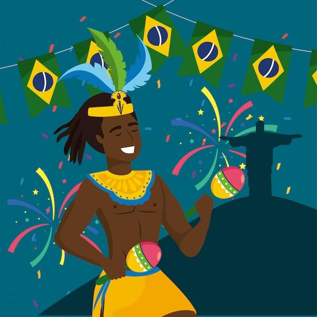 Mensenmusicus met maracas en partij brazilië