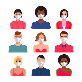 Mensenpictogram met beschermende maskers wordt geplaatst die.