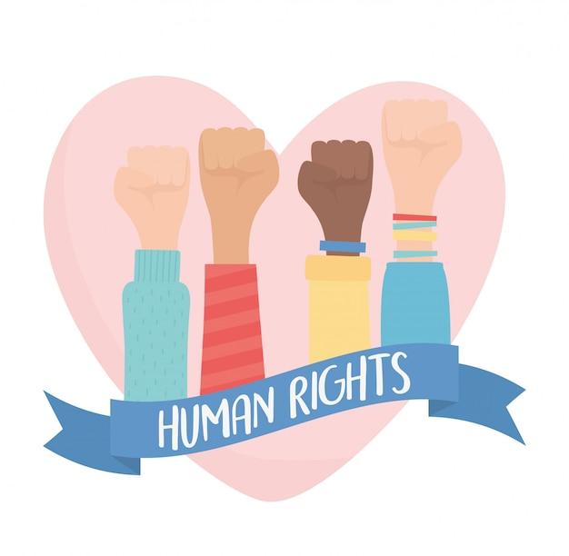 Mensenrechten, handen omhoog in vuist liefde hart sterke vectorillustratie