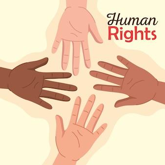 Mensenrechten met diversiteitshanden ontwerp, manifestatieprotest en demonstratiethema