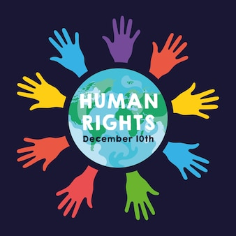 Mensenrechtencampagne belettering met handen afdrukken kleuren en aarde planeet vector illustratie ontwerp