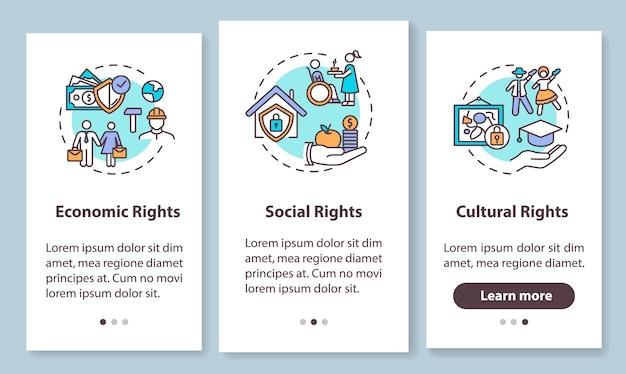 Mensenrechtengroepen die het scherm van de mobiele app-pagina met concepten introduceren. economische, sociale en culturele rechten. doorloopstappen grafische instructies. ui-sjabloon met rgb-kleurenillustraties