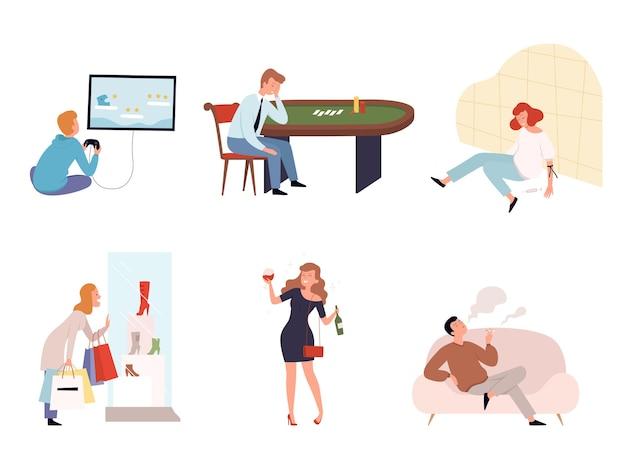 Mensenverslaafden. casinospelers, alcoholisten, drugsverslaafden, afhankelijkheid van karakters van sociale diensten.