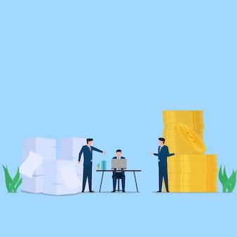 Mensenwerk aan bureau voorbij stapel papier en geld metafoor van inspanning en beloning. zakelijke platte concept illustratie.