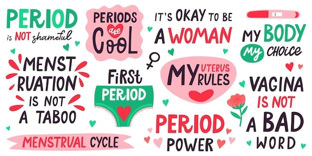 Menstruatie belettering illustratie