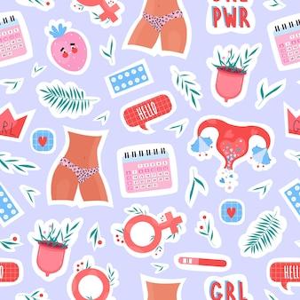 Menstruatie-elementen en lichaamspositief vrouwelijk patroon met menstruatiecup, baarmoeder, bloemen en belettering met de hand getekende moderne stijl