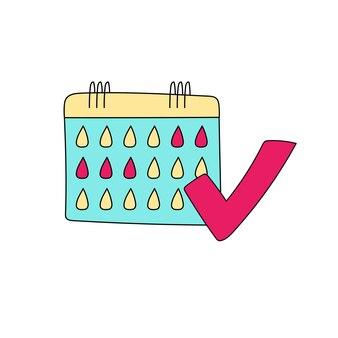 Menstruatie kalender hand getekende banner vectorillustratie