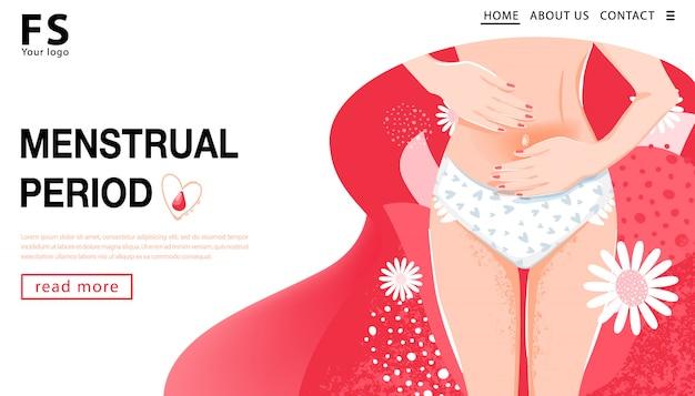 Menstruatie periode. bestemmingspaginasjabloon. vrouw met buikpijn. het concept van de vrouwgezondheid met vrouwenlichaam, lies van wijfje en bloemen. vector illustratie.