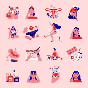 Menstruatie pms vrouw kleur set met geïsoleerde vrouwelijke karakters iconen van sanitaire producten baarmoeder en kalender