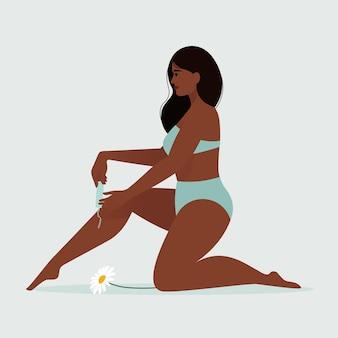 Menstruatie thema. vrouwelijke hygiëne. jonge afrikaanse vrouw in lingerie met tampon in de menstruatie. illustratie Premium Vector