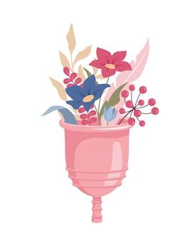 Menstruatiecup met bloemboeket erin, vectorillustratie