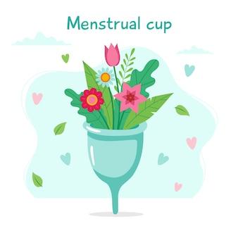 Menstruatiecup met bloemen en letters.