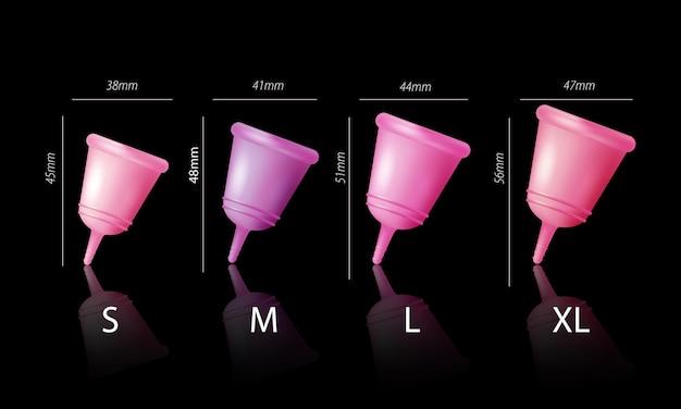 Menstruatiehygiëne set met menstruatie cupmaat realistisch geïsoleerd