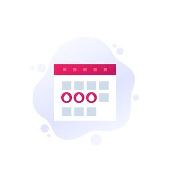 Menstruatiekalender, menstruatieperiode vectorpictogram