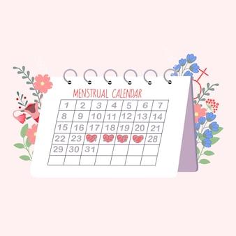 Menstruatiekalender met bloemen op roze achtergrond.