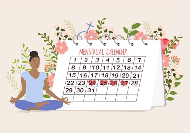 Menstruatiekalender met vrouw en bloemen