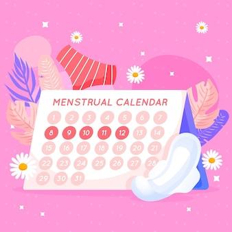 Menstruele kalender conceptontwerp met bloemen