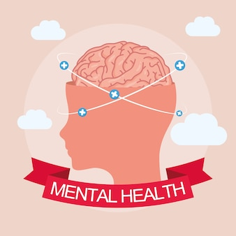 Mental health day-kaart met hersenen in profielmens