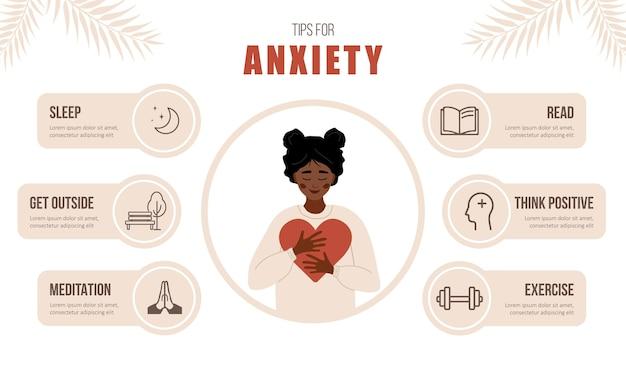 Mentale gezondheid. tips voor angst. gelukkige afrikaanse vrouw houdt van zichzelf.