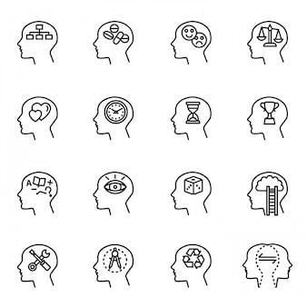 Mentaliteit, menselijk hoofd, zakelijke en motivatie icon set. dunne lijnstijl voorraad.