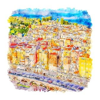 Menton frankrijk aquarel schets hand getrokken illustratie