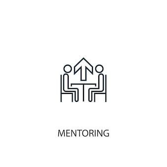 Mentoring concept lijn icoon. eenvoudige elementenillustratie. mentoring concept schets symbool ontwerp. kan worden gebruikt voor web- en mobiele ui/ux
