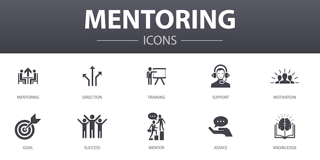 Mentoring eenvoudig concept iconen set. bevat iconen als richting, training, motivatie, succes en meer, kan worden gebruikt voor web, logo, ui/ux