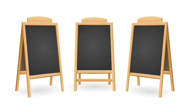 Menu black board geïsoleerde set. andere kijk. Premium Vector