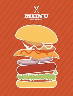 Menu fastfood ontwerp over lineal achtergrond