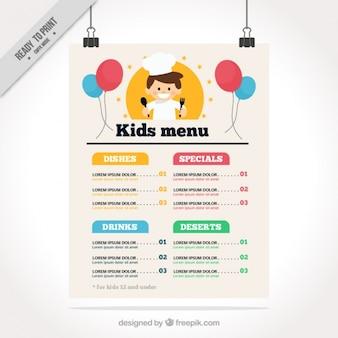 Menu flat kid's met gelukkige chef-kok en ballonnen