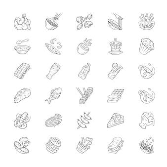 Menu gerechten lineaire pictogrammen instellen. salades, eerste maaltijd, hoofdgerechten. hamburger, drank, dessert. fastfood, restaurantmaaltijd.