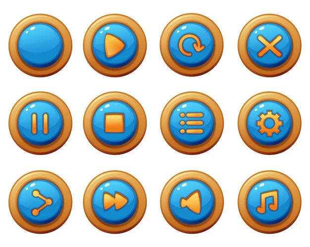 Menu-knop spelsjabloon gui-kit. knop interface voor het bouwen van web- en mobiele games en apps