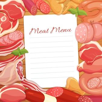 Menu met gastronomische vleesproducten.