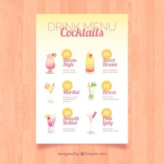Menu met verschillende cocktails in aquarel stijl