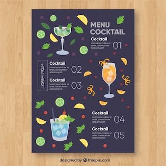 Menu met verschillende cocktails in vlakke stijl