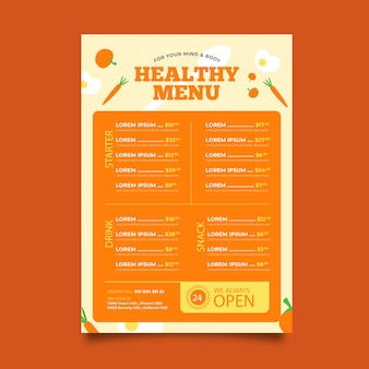 Menu ontwerp gezond voedselrestaurant