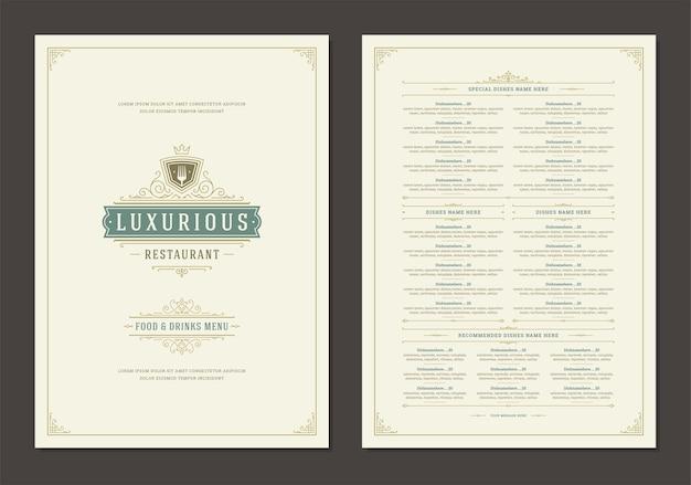 Menu ontwerpsjabloon met cover en restaurant vintage logo brochure