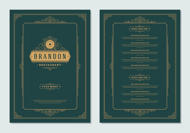 Menu ontwerpsjabloon met dekking en restaurant vintage logo brochure.