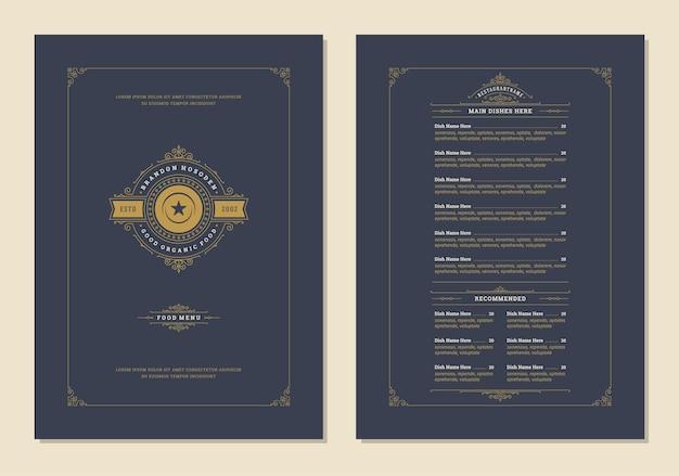 Menu ontwerpsjabloon met deksel en restaurant vintage logo vector brochure