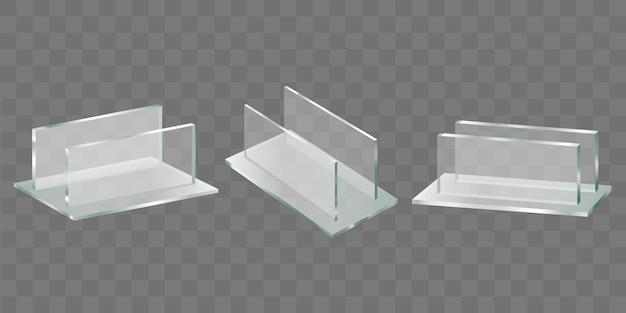 Menu, prijskaartje plastic houders realistische vector