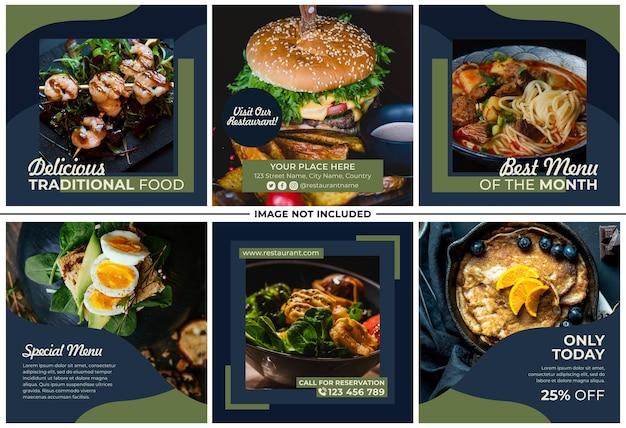 Menu restaurant instagram post set Premium Vector