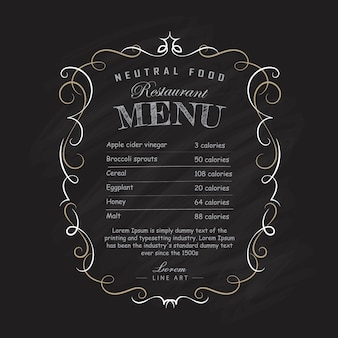 Menu restaurant schoolbord handgetekende frame vintage bloeit illustratie