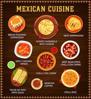 Menu van de mexicaanse keuken